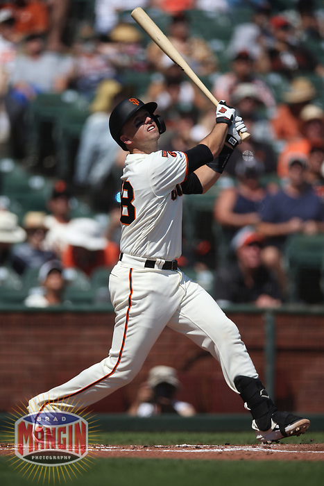 SAN FRANCISCO, CA - SEPTEMBER 12:  Buster Posey #28 of the San Francisco Giants bats against the Pittsburgh Pirates during the game at Oracle Park on Thursday, September 12, 2019 in San Francisco, California. (Photo by Brad Mangin)
