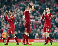 Liverpool's Georginio Wijnaldum, Andrew Robertson and Dejan Lovren celebrate on the pitch after the match<br /> <br /> Photographer Alex Dodd/CameraSport<br /> <br /> The Premier League - Liverpool v Manchester City - Sunday 14th January 2018 - Anfield - Liverpool<br /> <br /> World Copyright &copy; 2018 CameraSport. All rights reserved. 43 Linden Ave. Countesthorpe. Leicester. England. LE8 5PG - Tel: +44 (0) 116 277 4147 - admin@camerasport.com - www.camerasport.com