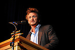 Actor Sean Penn speaks at a rally for Ralph Nader and other third party candidates at the University of Denver the same week the Democratic National Convention is in Denver, Colorado on August 27, 2008.  Organizers estimated a crowd of 4,000.