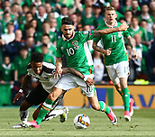 June 11th 2017, Dublin, Republic Ireland; 2018 World Cup qualifier, Republic of Ireland versus Austria;  David Alaba of Austria is tackled by Robbie Brady of Ireland