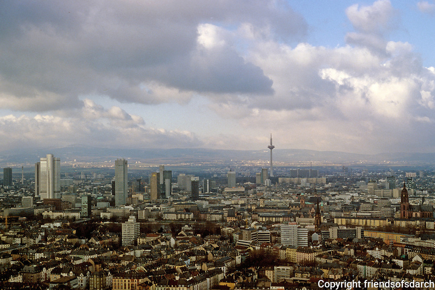 Frankfurt: View from Henninger Turm north to river, TV Tower. Photo '87.