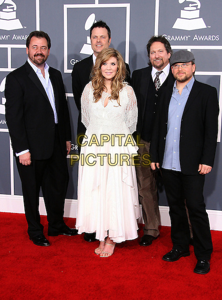Alison Krauss and Union Station.The 54th Annual GRAMMY Awards held at the Staples Center, Los Angeles, California, USA..February 12th, 2012.full length white dress crochet band group black suit blue shirt .CAP/ADM.©AdMedia/Capital Pictures.