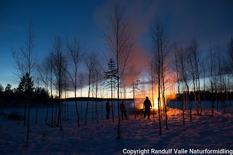 Bålfyring i mørketida ved Ellentjern i Pasvik. ---- Camp fire in Pasvik in late November.