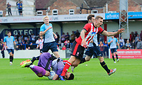 Gainsborough Trinity's trialist saves at the feet of Lincoln City's Harry Anderson<br /> <br /> Photographer Chris Vaughan/CameraSport<br /> <br /> Football Pre-Season Friendly (Community Festival of Lincolnshire) - Gainsborough Trinity v Lincoln City - Saturday 6th July 2019 - The Martin & Co Arena - Gainsborough<br /> <br /> World Copyright © 2018 CameraSport. All rights reserved. 43 Linden Ave. Countesthorpe. Leicester. England. LE8 5PG - Tel: +44 (0) 116 277 4147 - admin@camerasport.com - www.camerasport.com