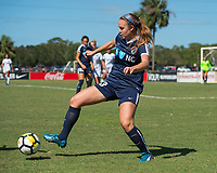 Sanford, FL - Saturday Oct. 14, 2017:  A Courage player controls the ball during a US Soccer Girls' Development Academy match between Orlando Pride and NC Courage at Seminole Soccer Complex. The Courage defeated the Pride 3-1.