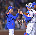 Tsuyoshi Wada, John Baker (Cubs),<br /> JULY 28, 2014 - MLB : Chicago Cubs starting pitcher Tsuyoshi Wada (L) is congratulated by teammate John Baker (12) after winning the Major League Baseball game against the Colorado Rockies at Wrigley Field in Chicago, USA. The Cubs defeated the Rockies. Tsuyoshi Wada's first Major League win.<br /> (Photo by AFLO)