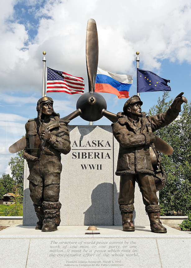 Alaska-Siberia Lend Lease statue memorial, Fairbanks, Alaska, AK, USA