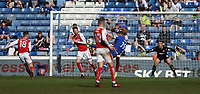 Oldham Athletic's Lee Erwin (partially hidden) scores his sides second goal <br /> <br /> Photographer Stephen White/CameraSport<br /> <br /> The EFL Sky Bet League One - Oldham Athletic v Fleetwood Town - Saturday 8th April 2017 - SportsDirect.com Park - Oldham<br /> <br /> World Copyright &copy; 2017 CameraSport. All rights reserved. 43 Linden Ave. Countesthorpe. Leicester. England. LE8 5PG - Tel: +44 (0) 116 277 4147 - admin@camerasport.com - www.camerasport.com
