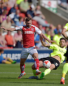 08/08/2015 Sky Bet League 1 Fleetwood Town v Southend United<br /> Jimmy Ryan tackled by Anthony Wordsworth