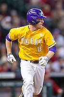 LSU Tigers shortstop Alex Bregman (8) runs to first base during the Houston College Classic against the Nebraska Cornhuskers on March 8, 2015 at Minute Maid Park in Houston, Texas. LSU defeated Nebraska 4-2. (Andrew Woolley/Four Seam Images)