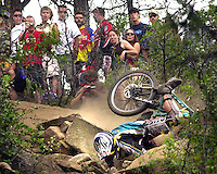 A downhill mountain bike racer crashes in front of a crowd during the 2003 Iron Horse Bicycle Classic mountain bike race.