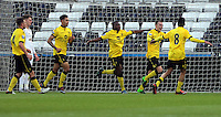 Pictured: Rory Hale (2nd R) of Aston Villa celebrates his opening goal with team mates  Monday 25 April 2016<br /> Re: Play Off semi final, Swansea City AFC U21 v Aston Villa FC U21 at the Liberty Stadium, Swansea, UK