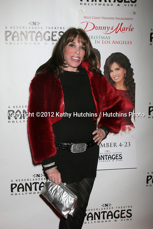 """LOS ANGELES - DEC 4:  Kate Linder arrives to """"Donny & Marie - Christmas in Los Angeles"""" Opening Night at Pantages Theater on December 4, 2012 in Los Angeles, CA"""