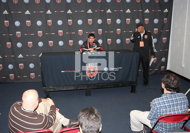 Jaime at a post game press conference during festivities surrounding the final appearance of Jaime Moreno in a D.C. United uniform, at RFK Stadium, in Washington D.C. on October 23, 2010. Toronto won 3-2.