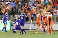 Houston, TX - Saturday Sept. 03, 2016: Morgan Brian, Janine Beckie, Poliana Barbosa celebrates scoring, Cari Roccaro, Denise O'Sullivan during a regular season National Women's Soccer League (NWSL) match between the Houston Dash and the Orlando Pride at BBVA Compass Stadium.