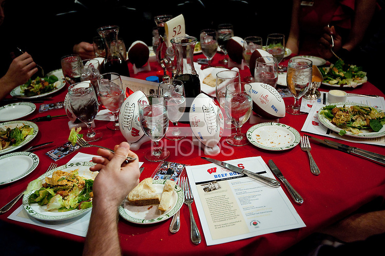 LOS ANGELES, CA--The Stanford Cardinal sits down to dinner during the annual Beef Bowl dinner at Lawry's restaurant in Los Angeles.