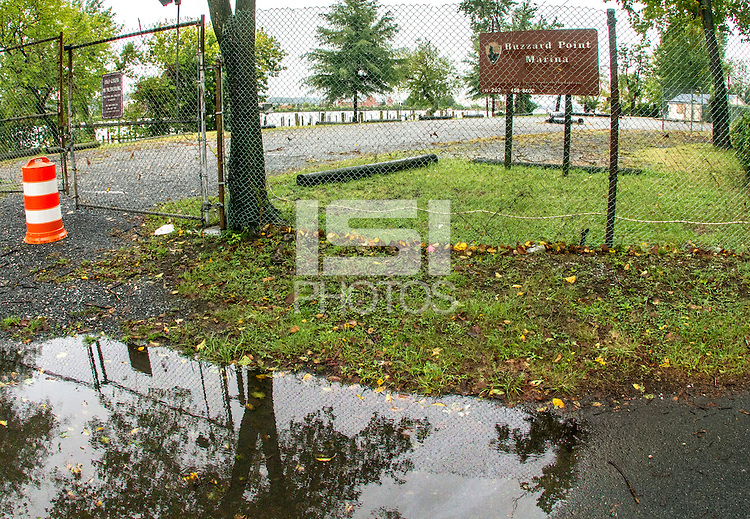 Washington D.C. - October 1, 2016: The closed Buzzards Point Marina on the Anacostia River. Buzzards Point area in Southwest Washington D.C. cleared for construction of the new soccer stadium for D.C. United scheduled to open in 2018.