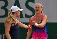 Paris, France, 26 June, 2016, Tennis, Roland Garros, Doubles:  Kiki Bertens (NED) (R) and her partner Johanna Larsson <br /> Photo: Henk Koster/tennisimages.com