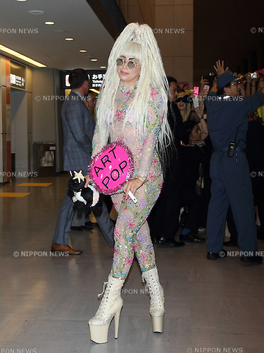 August 12, 2014, Chiba, Japan - American singer and songwriter Lady Gaga arrives at Narita Airport in Chiba, Japan. Gaga is set to perform two nights in Tokyo on August 13 and 14 as part of her 'ArtRave: The Artpop Ball' world tour. (Photo by Motoo Naka/AFLO)