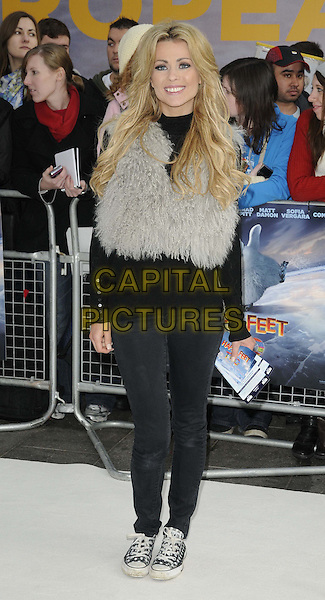 Nicola McLean.European Premiere of 'Happy Feet Two' at the Empire Leicester Square, London, England..November 20th 2011.2 full length black grey gray fur jeans denim.CAP/CAN.©Can Nguyen/Capital Pictures.