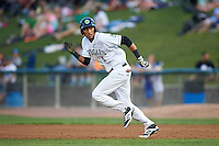 Kane County Cougars outfielder Victor Reyes (5) steals second during a game against the Great Lakes Loons on August 13, 2015 at Fifth Third Bank Ballpark in Geneva, Illinois.  Great Lakes defeated Kane County 7-3.  (Mike Janes/Four Seam Images)