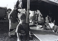 Camp for internally displaced Roma at a school in Kosovo Polje. Roma feared reprisals from Albanians after the war for allegedly collaborating with the Serbs.