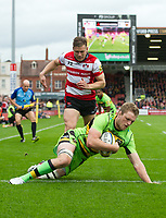 Northampton Saints' Jamie Gibson scores his sides first try <br /> <br /> Photographer Ashley Western/CameraSport<br /> <br /> Aviva Premiership - Gloucester v Northampton Saints - Saturday 7th October 2017 - Kingsholm Stadium - Gloucester<br /> <br /> World Copyright &copy; 2017 CameraSport. All rights reserved. 43 Linden Ave. Countesthorpe. Leicester. England. LE8 5PG - Tel: +44 (0) 116 277 4147 - admin@camerasport.com - www.camerasport.com