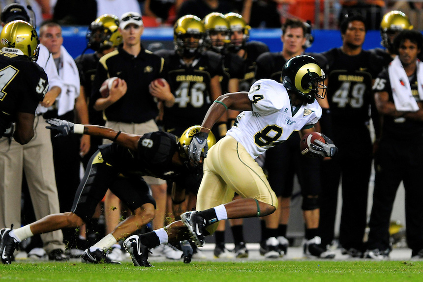 31 Aug 2008: Colorado State wide receiver Rashaun Greer (84) advances the ball against Colorado. The Colorado Buffaloes defeated the Colorado State Rams 38-17 at Invesco Field at Mile High in Denver, Colorado. FOR EDITORIAL USE ONLY