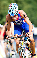25 JUL 2010 - LONDON, GBR - David Hauss leaves transition during the elite mens round of the London leg of the ITU World Championship Series triathlon (PHOTO (C) NIGEL FARROW)