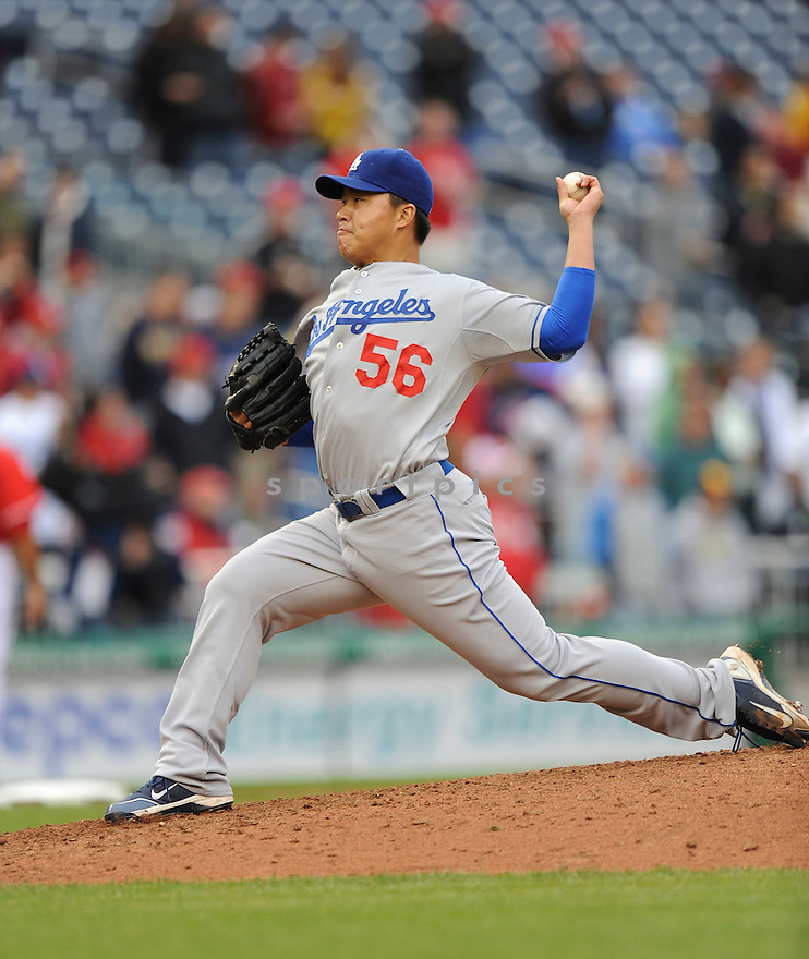 HONG-CHIH KUO, of the Los Angeles Dodgers, in action during the Dodgers game against the Washington Nations  at Nationals Park in Washington D.C.on April 25, 2010.   The Dodgers win the game 1-0....
