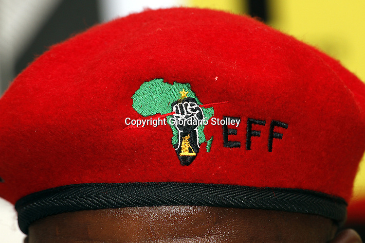DURBAN - 14 August 2013 - The red Beret of the Economic Freedom party as seen at the party's first press conference in KwaZulu-Natal. EFF was founded by expelled ANC Youth League president Julius Malema. Picture: Giordano Stolley