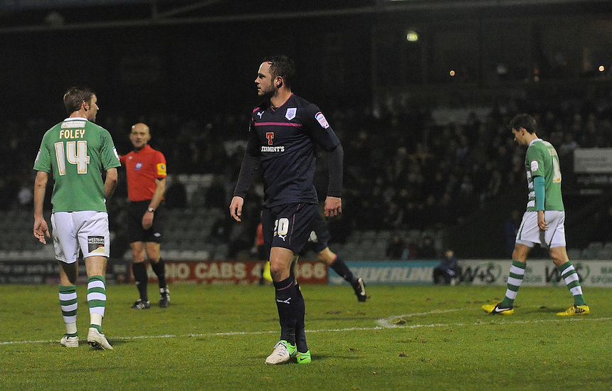 Preston North End's Chris Beardsley celebrates scoring his sides first goal ..Football - npower Football League Division One - Yeovil Town v Preston North End - Tuesday 12 th 2013 - Huish Park - Yeovil..© CameraSport - 43 Linden Ave. Countesthorpe. Leicester. England. LE8 5PG - Tel: +44 (0) 116 277 4147 - admin@camerasport.com - www.camerasport.com