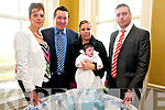 Baby Sean Healy with his parents Phil & Deidre Healy and god parents Anne Healy & Sean T. McAuliffe who was christened in St. Mary's Church, Listowel by Canon Declan O'Connor and afterwrds at the Listowel Arms Hotel.