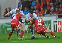 Racing 92 Olivier Klemenczak is tackled by Scarlets' Johnny Mcnicholl<br /> <br /> Photographer Ian Cook/CameraSport<br /> <br /> European Rugby Champions Cup - Scarlets v Racing 92 - Saturday 13th October 2018 - Parc y Scarlets - Llanelli<br /> <br /> World Copyright &copy; 2018 CameraSport. All rights reserved. 43 Linden Ave. Countesthorpe. Leicester. England. LE8 5PG - Tel: +44 (0) 116 277 4147 - admin@camerasport.com - www.camerasport.com