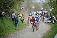 Taylor Phinney (USA/BMC) leads the breakaway group over the 1st (of 3) ascent of the Oude Kwaremont<br /> <br /> Ronde van Vlaanderen 2014