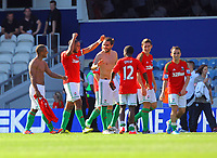 FAO SPORTS PICTURE DESK<br /> Pictured: Swansea players delighted with their win celebrating after the final whistle. Saturday 18 August 2012<br /> Re: Barclay's Premier League, Queens Park Rangers v Swansea City FC at Loftus Road Stadium, London, UK.