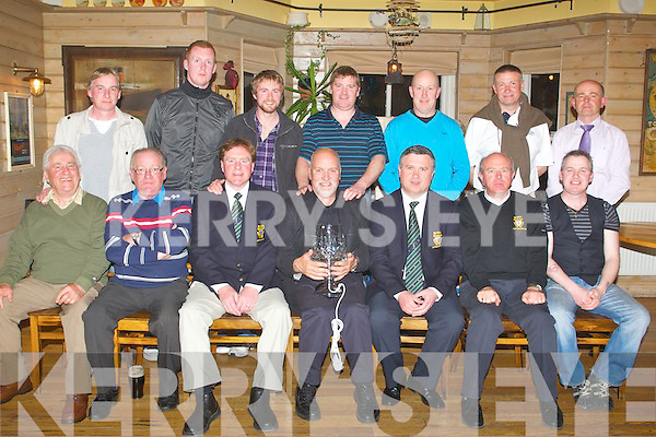 GOLF: Winner's of the Old Reserves Golf Society captain prize which was played on the Killeen Course, Killarney at Stokers Lodge bar and restaurant, Tralee on Saturday seated l-r: Richie Greer (3rd place), John O'Connell, Brendan Rowtree (president), Brendan Tess (1st place), Dannie Holly (captain), Tom Egan (2nd place) and Noel McCord. Back l-r: Sean McCord, Simon McCarthy, Stephen Mooney, Tommy O'Connor, Seamus Cronin, Gerrard O'Sullivan and Jer Curtin (vice captain)...
