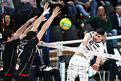 20th March 2018, PalaTrento, Trento, Italy; CEV Volleyball Champions League, playoffs, 1st leg; Trentino Diatec versus Chaumont VB 52 Haute Marne; 1 Yacine Louati FRA, 7 Jonas Aguenier FRA, 10 Lanza Filippo ITA