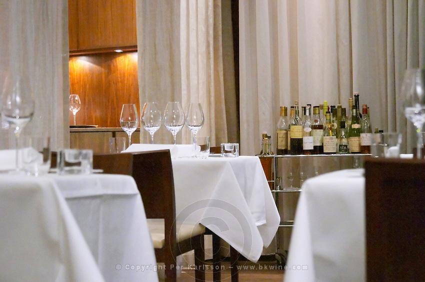 Table set with starched linen table cloth, napkins, and wine glasses. Vassa Eggen gastronomic restaurant. Stockholm. Sweden, Europe.
