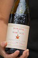 A bottle of Domaine de Marcoux 2002. The restaurant Le Verger de Papes in  Chateauneuf-du-Pape Vaucluse, Provence, France, Europe