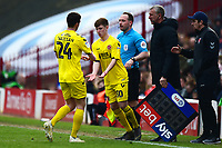 Fleetwood Town's Barry Baggley replaces  Ashley Nadesan<br /> <br /> Photographer Richard Martin-Roberts/CameraSport<br /> <br /> The EFL Sky Bet League One - Barnsley v Fleetwood Town - Saturday 13th April 2019 - Oakwell - Barnsley<br /> <br /> World Copyright © 2019 CameraSport. All rights reserved. 43 Linden Ave. Countesthorpe. Leicester. England. LE8 5PG - Tel: +44 (0) 116 277 4147 - admin@camerasport.com - www.camerasport.com