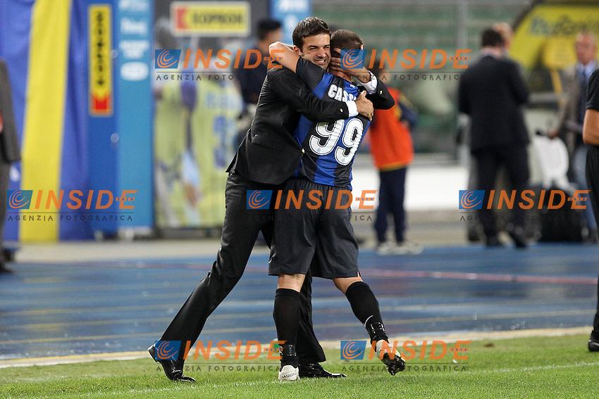 """Esultanza Antonio Cassano Andrea Stramaccioni Inter.Verona 26/09/2012 Stadio """"Bentegodi"""".Football Calcio Serie A 2012/13.Chievo v Inter.Foto Insidefoto Paolo Nucci."""