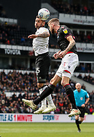 Bolton Wanderers' Mark Beevers competing with Derby County's Bradley Johnson <br /> <br /> Photographer Andrew Kearns/CameraSport<br /> <br /> The EFL Sky Bet Championship - Derby County v Bolton Wanderers - Saturday 13th April 2019 - Pride Park - Derby<br /> <br /> World Copyright &copy; 2019 CameraSport. All rights reserved. 43 Linden Ave. Countesthorpe. Leicester. England. LE8 5PG - Tel: +44 (0) 116 277 4147 - admin@camerasport.com - www.camerasport.com