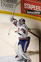 Jun 7, 2007; Hamilton, ON, CAN; Hamilton Bulldogs goalie (29) Carey Price celebrates the Bulldogs 2-1 win over the Hershey Bears in game five of the Calder Cup finals at Copps Coliseum in Hamilton, ON. The Bulldogs won the Calder Cup. Mandatory Credit: Ron Scheffler