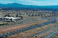 Rows of planes at Davis-Monathan Air Force Base, Tucson, Arizona