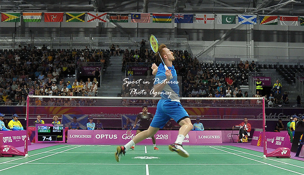 Kieran MERRILEES (SCO) in the mens singles. Badminton. Mixed team event. XXI Commonwealth games. Carrara Sports hall 2. Gold Coast 2018. Queensland. Australia. 05/04/2018. ~ MANDATORY CREDIT Garry Bowden/SIPPA - NO UNAUTHORISED USE - +44 7837 394578