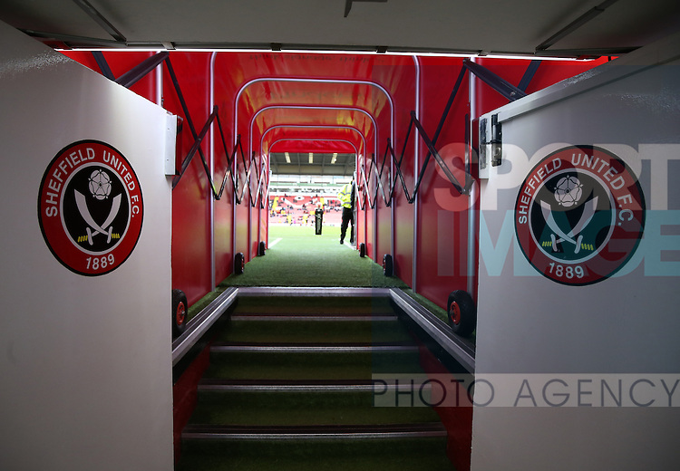 The tunnel at Bramall Lane during the Emirates FA Cup Round One match at Bramall Lane Stadium, Sheffield. Picture date: November 6th, 2016. Pic Simon Bellis/Sportimage