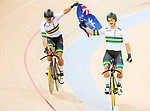 The team of Australia with Sam Welsford, Cameron Meyer, Alexander Porter and Nicholas Yallouris celebrates after winning the Men's Team Pursuit - Finals as part of the 2017 UCI Track Cycling World Championships on 13 April 2017, in Hong Kong Velodrome, Hong Kong, China. Photo by Marcio Rodrigo Machado / Power Sport Images