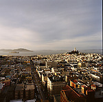 The view from room 10, the Lexus Eco-Suite, at the historic Fairmont Hotel in the Nob Hill neighborhood of San Francisco, California