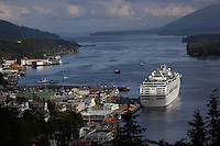 Cruise ships arrive in Ketchikan to deposit shoppers and sightseers into the city for the afternoon adding upwards of 9,000 people to the small town of 17,000. Sometimes six ships are scheduled to dock for the day.  Jewelry stores dominate the Front Street, most of which are owned by the cruise ships.  There are about 68 shops in town all vying for tourist dollars with diamonds and jewels,  Most close in the winter enabling their Pakistani workers to take business south. Once a logging town, Ketchikan has turned to tourism.